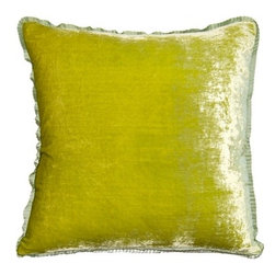 "Squarefeathers - Flint Pillow, Velvet Lime Pillow - The ""Flint"" collection can be a fun addition to any room in your house. Made of silk and rayon with a lime ribbon trim. It has a soft and pump feataher/down insert inclosed with a zipper. Like all of our products, this pillow is handmade, made to order exclusively in our studio right here in the USA."