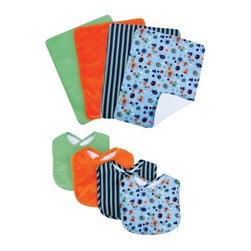 Trend Lab Snuggle Monster Bib & Burp Cloth Set - 8 Piece - Be prepared for the oncoming messes with the stylish Trend Lab Snuggle Monster Bib & Burp Cloth Set - 8 Piece. The fashionable modern prints and patterns on each piece of this set comes in a variety of colors that match well when paired with each other. Made of 100% cotton and polyester micro mink, it is machine-washable on cold with like colors. This set includes four bibs and four burps.About Trend LabFormed in 2001 in Minnesota, Trend Lab is a privately held company proudly owned by women. Rapid growth in the past five years has put Trend Lab products on the shelves of major retailers, and the company continues to develop thoroughly tested, high-quality baby and children's bedding, decor, and other items. Trend Lab continues to inspire and provide its customers with stylish products for little ones. From bedding to cribs and everything in between, Trend Lab is the right choice for your children.