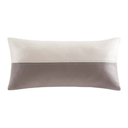 Echo - Echo 'Status' Oblong Two-tone Throw Pillow - The Status rectangular throw pillow features a rich faux leather upholstery with a contemporary two-tone design to add luxury to your decor. Grey and ivory panels are fused together with decorative light blue pick stitching.