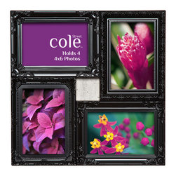 """Philip Whitney - 4 Photo Molded Deco Collage Frame, 4""""x6"""" - Add instant elegance to your home using this Molded Deco Collage Frame. Featuring both horizontal and vertical black wood frames arranged in a square collage, this versatile piece can accommodate four different 4-by-6 inch photos. The frame's scroll designs and interior beaded trim give it a feminine, ornate look that pairs well with traditional decor."""