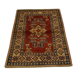 1800-Get-A-Rug - Red Hand Knotted 100% Wool Geometric Super Kazak Oriental Rug Sh16674 - Our Tribal & Geometric hand knotted rug collection, consists of classic rugs woven with geometric patterns based on traditional tribal motifs. You will find Kazak rugs and flat-woven Kilims with centuries-old classic Turkish, Persian, Caucasian and Armenian patterns. The collection also includes the antique, finely-woven Serapi Heriz, the Mamluk Afghan, and the traditional village Persian rug.