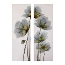 Uttermost Floral Glow Floral Art Set/2 - Handpainted art. This frameless, hand painted oil is on canvas and is stretched and attached to wood stretching bars. Due to the handcrafted nature of this artwork, each piece may have subtle differences.