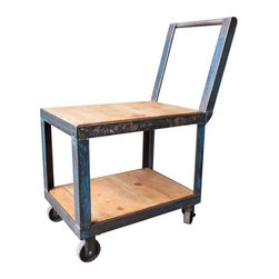 """Used Vintage Industrial Rolling Cart-Blue - This refurbished vintage industrial rolling cart is the belle of the ball. The tall handle creates an interesting shape and make its easy to push and deliver drinks to guests while the lovely blue distressing adds a rustic and unique charm. 40.5"""" from floor to handle."""