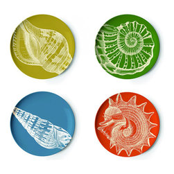 Bob's Your Uncle - Sealife Coaster Set - They say you can hear the ocean inside a seashell. Yet these seashell coasters also bring the whimsical charm of the ocean to your home. Designed by Thomas Paul, each feature vibrant colors with a stunning seashell image that will make you long for the beach. Set of four coasters.