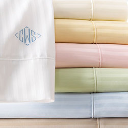 SFERRA - SFERRA Queen Sheet Set, Mono. - Exclusively ours. These wonderful 600-thread count, tone-on-tone, long-staple cotton striped sateen sheets are a perfect compliment to any bed. From Sferra, they are sold in sets with flat and fitted sheets and pillowcases. Now available with monogram...