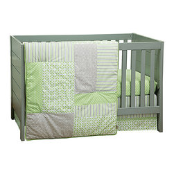 Trend Lab - Trend Lab's Lauren 3-Piece Baby Bedding Set - Timeless polka dots and stripes are paired with fresh lattice and geometric circles bringing a wonderfully stylized statement to the nursery in Trend Labs Lauren 3-Piece Baby Bedding Set. Sage green is combined with shades of a beautiful opal gray and crisp white offering endless decorating possibilities for you and your little one. The 3 piece set includes fitted sheet crib skirt and blanket/quilt. Coordinating accessories sold separately. Please allow 2-3 weeks for delivery. 100 cotton. Machine wash/tumble dry