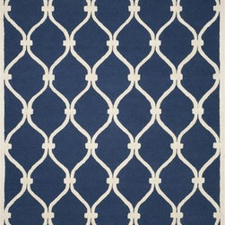 Safavieh - Safavieh Cambridge CAM710M 8' Round Navy, Ivory Rug - Bring classic style to your bedroom, living room, or home office with a richly-dimensional Safavieh Cambridge Rug. Artfully hand-tufted, these plush wool area rugs are crafted with plush and loop textures to highlight timeless motifs updated for today's homes in fashion colors.