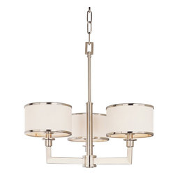 Maxim Lighting - Maxim Lighting Nexus Modern / Contemporary Chandelier X-NSTW45021 - This three-light chandelier features white fabric drum shades with metal ring trimmings. The angular frame is finished in a satin nickel with thin rectangular tube arms. The Maxim Lighting Nexus contemporary chandelier creates a cosmopolitan atmosphere with charming appeal. It provides a polished look with formal elegance.