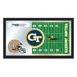 "Holland Bar Stool - Holland Bar Stool Georgia Tech Football Mirror - Georgia Tech Football Mirror belongs to College Collection by Holland Bar Stool The perfect way to show your school pride, our Football Mirror displays your school's symbols with a style that fits any setting.  With it's simple but elegant design, colors burst through the 1/8"" thick glass and are highlighted by the mirrored accents.  Framed with a black, 1 1/4 wrapped wood frame with saw tooth hangers, this 15""(H) x 26""(W) mirror is ideal for your office, garage, or any room of the house.  Whether purchasing as a gift for a recent grad, sports superfan, or for yourself, you can take satisfaction knowing you're buying a mirror that is proudly Made in the USA by Holland Bar Stool Company, Holland, MI.   Mirror (1)"