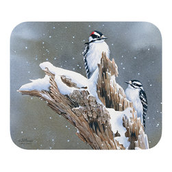 "530-Downy Woodpecker Mouse Pad - Decorate your desk with your favorite art designs that look great and protect your mouse from scratches and debris. 100% Polyester face, 100% neoprene backing, permanently dye printed & fade resistant. 9.25"" x 7.5"""