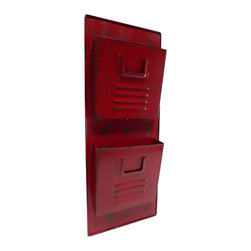 Cheung's Rattan Imports - Red Wall Locker Mail Holder - With an eye-catching, distressed design, this mail holder adds classic elegance and convenience to your entryway.   12.5'' W x 31.5'' H Metal Imported