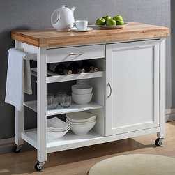 Baxton Studio - Denver White Modern Kitchen Cart - Update your kitchen with this functional,stylish Denver white kitchen island. This island with a butcher block chop,multiple cabinets,and wheeled legs with locking capabilities to keep in place while in use.