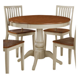 "Steve Silver Furniture - Steve Silver Candice Round Dining Table in Oak and White - The Candice collection offers country-style simplicity, transforming any dining area into a charming sanctuary. The white and oak Candice pedestal table features a beautifully turned base with a 42"" round top that will seat four comfortably. Add the Candice white and oak side chairs to complete the look."