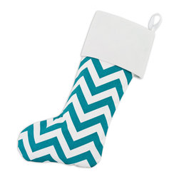 None - Zig-zag Turquoise Lined Trimmed Stocking - Whatever your decor,one of Chooty's Christmas stockings will surely be a fit. From traditional to contemporary or simple to extraordinary,this blue chevron print stocking is made with cotton for durable use.