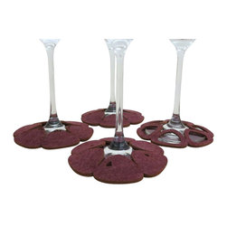 Dimlim - Stemware Coasters Compagnia Aqua, Plum, Large/Red Wine - These guys are multi-taskers just like you! They tag your stemware, pick up sweat (yes chilled wine sweats the glass too) drops and those minor spills that happen when your guests are having a lot of fun. When the night is over they do the job of a regular coaster for your cool or hot drink.