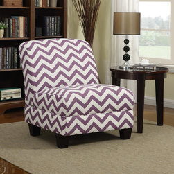 PORTFOLIO - Portfolio Alton Purple Chevron Armless Chair - The Portfolio Alton armless chair features a rolled broad back and deep seat cushion for extraordinary comfort. The Alton chair is a small scale chair offering generous seating comfort and is covered in a contemporary chevron pattern fabric.