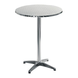 Euro Style - Alice Round Metal Bar Table - Aluminum base and column. Stainless table top with wrap around edge. Adjustable feet. Indoor/ outdoor. 1-Year manufacturer's warranty. 27.5 in. W x 27.5 in D x 42 in. H (34 lbs.)Grand ideas for small spaces, the smooth and clean geometric shapes give your rooms a trendy, up-to-date look. The furniture design make your rooms stylish and sophisticated, symbolizing your self confidence.