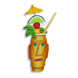Zeckos - Easter Island Tropical Drink DumDum Wall Hanging - This beautiful metal wall hanging features a tasty looking Zombie cocktail in a tiki style cup. The detail is impressive, down to the cherry and lime garnish and parasol pick. It measures 14 inches tall, 6 1/2 inches wide and about an inch thick. It'll add a splash of color to any room, and makes a great gift for owl lovers.