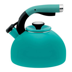 Circulon - Circulon Morning Bird 2 Quart Steel Teakettle, Capri Turquoise - Circulon has been at the forefront of function and style for over a quarter century, and the Circulon 2-Quart Morning Bird Teakettle is another ideal accessory for the contemporary kitchen. The kettle heats up to 8 cups of hot water for several portions of pour-over coffee or a large aromatic pot of steaming vanilla rooibos tea. The teakettles melodic whistle sounds when water comes to the boil, and the squeeze-and-pour handle with a textured rubber grip places the spouts lever at your fingertips for one-hand operation. The sleek profile of the teakettle adds a touch of fashion to function, as do all the great Circulon cookware and kitchenware products.