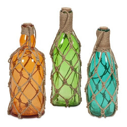"IMAX - Williams Glass Bottles with Jute Hangers - Set of 3 - Add a pop of color and texture to your room with the Williams glass bottles. These brightly colored translucent glass bottles are wrapped in jute hangers, stylishly contrasting textures and colors. Item Dimensions: (9-10-12""h x 3.5-4-3.75""w x 3.5-4-3.25"")"