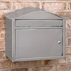 Kenton Locking Wall Mount Stainless Steel Mailbox - A modern design style combines with stainless steel durability in the Kenton Locking Wall Mount Stainless Steel Mailbox for a premium mailbox that will last for years. The oversized incoming mail slot accepts magazines, DVDs and more.