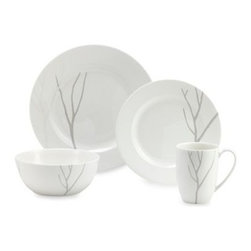 Lenox - Lenox Park City 4-Piece Place Setting - This white porcelain dinnerware and serveware has a design of simple lines that come together to create a forest of bare branched trees. Both beautiful and durable, this dinnerware will serve your guests well for years to come.