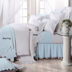 None - Montecito Scalloped  Edge 3-Piece Quilt Set - Romance is fundamental with this delicate quilt set from Montecito. In beautiful pastel blue and white, the 100 percent cotton quilt and shams are exquisitely detailed. The set is available in twin, full/queen, and king sizes.