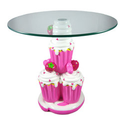 Cute Strawberry Cupcake Child Size Glass Top Table - This adorable pink strawberry cupcake glass top table is perfect for your little Cupcake's room. The table measures 16 inches tall, 14 inches in diameter, and the glass top screws onto the stacked cupcake base. The glass is 1/4 inch thick, and is rounded on the edges for safety. The table is hand-painted, and is a perfect addition to the bedroom of Strawberry Shortcake fans.