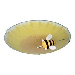 Philips - Kidsplace Flushmount No. 30111 by Philips - Buzzing contentedly around a sunflower of light, the Philips Kidsplace Flushmount No. 30111 features a happy bee hovering beneath a decorated sunflower glass shade. Frosted glass allows fluorescent light to be evenly diffused and warmed as it passes through shades of yellow and brown. A sunny fixture for the kids' playroom or bedroom. For more than 40 years, Philips has offered their distinctive line of contemporary yet accessible lighting for the home. The Philips Lighting collection runs the gamut of modern design, from simple and transitional to organic to modern industrial. Whatever the style of the fixture may be, attention to detail and quality ensures that it will illuminate and enhance spaces indoors or out for many years.