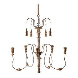 Kathy Kuo Home - Grace 5 Candle Curled Iron French Country Candle Chandelier - The graceful arms of this chandelier are elegantly balanced with gold drops that hang from above. It will hold tapered candles that, when lit, will bounce a beautiful gold glow across the room.  An electrified version is available as well.  Comes with 7' long coordinating chain.  Burlap pole shown in photo can be purchased separately.