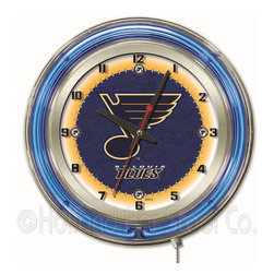 Holland Bar Stool - Holland Bar Stool Clk19STLBlu St Louis Blues 19 Inch Neon Clock - Clk19STLBlu St Louis Blues 19 Inch Neon Clock belongs to NHL Collection by Holland Bar Stool Our neon-accented Logo Clocks are the perfect way to show your team pride. Chrome casing and a team specific neon ring accent a custom printed clock face, lit up by an brilliant white, inner neon ring. Neon ring is easily turned on and off with a pull chain on the bottom of the clock, saving you the hassle of plugging it in and unplugging it. Accurate quartz movement is powered by a single, AA battery (not included). Whether purchasing as a gift for a recent grad, sports superfan, or for yourself, you can take satisfaction knowing you're buying a clock that is proudly made by the Holland Bar Stool Company, Holland, MI. Clock (1)