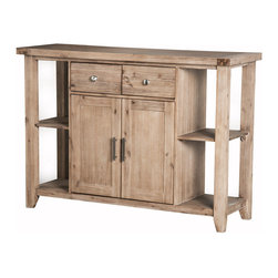 "Alpine Furniture - Aspen Server - Aspen Server ; Iron Brush Antique Natural Finish; Product Material: Acacia Solids and Acacia Veneer; Fully Assembled; Country of Origin: Vietnam; Dimensions: 54""L x 18""W x 38""H"