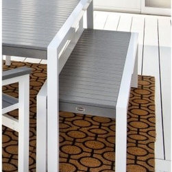 POLYWOOD® MOD Bench with Aluminum Frame - Ideal for the contemporary home or chic outdoor setting, the versatile POLYWOOD MOD Bench with Aluminum Frame is durably constructed of heavy-grade aluminum and HDPE POLYWOOD, a patented synthetic lumber that offers the look and feel of painted wood without the hassle of chips or splinters. In fact, this fade-resistant material is designed to weather the worst environmental stresses, including insects, fungi, and other corrosive elements. This easy-care bench is available in five aluminum frame finishes and 14 lumber color options. Simply clean with soap and water. Made in the USA.About Poly-WoodThe advantages of Poly-Wood Recycled Plastic are hard to ignore. Poly-Wood absorbs no moisture and will NOT rot, warp, crack, splinter, or support bacterial growth. Poly-Wood is also compounded with permanent UV-stabilized colors, which eliminates the need for painting, staining, waterproofing, stripping, and resurfacing. This material is impervious to many substances, including salt water, gasoline, paint, stains, and mineral spirits. In addition, every Poly-Wood product comes with stainless steel hardware.Poly-Wood is extremely easy to clean and maintain. Simple soap and water is all you need to get rid of dirt and make your furniture look new again. For extreme cleaning needs, you can use a 1/3 bleach and water solution. Most Poly-Wood furnishings are available in a variety of classic colors, which allow you to choose your favorite or coordinate with the furniture you already have. This is sure to be a piece that you will be proud to own for a lifetime.