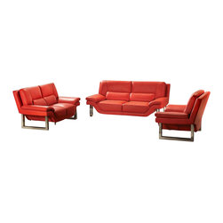 VIG Furniture - New York Red Top Grain Italian Leather 3-Piece Sofa Set - Three ultramodern pieces that create a clean look, an expanse of color and lots of extra comfy seating. You can group the sofa, love seat and chair as a set or separate them into vignettes. Anywhere you put them, you'll love sinking into the red, grain leather, foam-filled cushions. And you'll especially appreciate the chrome foundations, that are easy to keep shining bright with just the swipe of a soft cloth.