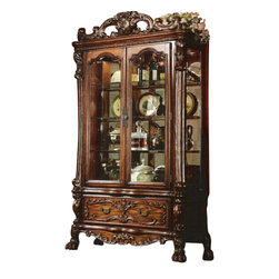 "Acme - Dresden Cherry Oak Finish Wood Curio Cabinet with Glass Front Doors and Sides - Dresden cherry oak finish wood curio cabinet with glass front doors and sides with mirrored back and lower drawer. Measures 51"" x 20""D x 89""H. Some assembly may be required."