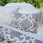 Geometric Print Duvet Cover, The Noe Gray - This gray and white Moroccan-inspired quatrefoil printed duvet has geometric sophistication.  300-thread count luxurious cotton with finishing details of edge piping, interior corner ties and zipper enclosures. Pairs beautifully with scalloped embroidered sheets.