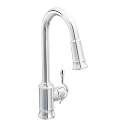 "Moen - Moen S7208C Woodmere Single Handle Pullout Kitchen Faucet in Chrome - Moen S7208C Woodmere Single Handle Pullout Kitchen Faucet in ChromeWoodmere's flowing design provides an uncluttered appearance to your countertop. The exclusive patented pause button easily suspends water flow from the wand.Moen S7208C Woodmere Single Handle Pullout Kitchen Faucet in Chrome, Features:• High arc spout provides the height and reach to fill or clean large pots while the pulldown feature provides infinite maneuverability for cleaning or rinsing• One-handle lever design for ease of use• Pullout spray with 68"" braided hose• Convenient single-button actuation provides flexibility to switch from stream to spray mode• When filling a vessel outside of the sink, the pause feature conveniently stops the flow of water as the wand passes over the countertop• Single-hole mount• Spout height: 16-7/8""• Wand with Hydrolock quick connect system• Handle reversibility feature• Flexible supply lines with 3/8"" compression fittings• 2.2 GPM (8.3 l/min) max• ADA CompliantSpecification Sheet - Moen S7280CMoen Installation Instructions  Moen Limited Lifetime WarrantyManufacturer: MoenModel Number: Moen S7208CManufacturer Part Number: S7208CCollection: WoodmereFinish Code: Finish: ChromeUPC: 026508199947This product is also listed under the following Manufacturer Numbers and Finish Codes:Moen-S7208C        S7208C        Moen S7208C        MOS7208CProduct Category: Kitchen FaucetsProduct Type: Pullout Spray Kitchen Faucet"