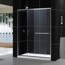 Dreamline - Infinity-Z Frameless Sliding Shower Door & SlimLine 34x60 Single Threshold Base - This kit combines the INFINITY-Z shower door with a coordinating SlimLine shower base, perfect for a bathroom renovation or tub-to-shower conversion project. The INFINITY-Z pairs a sliding shower door with a stationary glass panel to provide a comfortably wide shower entry. The stationary panel is fitted with a convenient towel bar that doubles as a handle. The SlimLine shower base completes the look with a low profile design for a sleek modern look. Choose this efficient and cost effective DreamLine shower kit to completely transform a shower space.