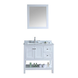 """Ari Ktchen and Bath - Emily 36"""" Cottage Style Bathroom Vanity With Carrara Marble - White - Beautiful cottage style bathroom vanity by Ari Kitchen and Bath, a new brand manufacturing quality bathroom decor at affordable prices. The new 36"""" Emily comes with a carrara marble top, with a rectangle CUPC basin, soft-closing drawers and door, concealed drawer hinges, white framed mirror and pure white solid wood bathroom cabinet. Absolutely no MDF or Particle board on all of our bathroom vanities. All of our bathroom vanities come assembled by the manufacturer, minimal assembly required."""