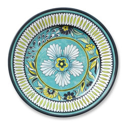 La Med Melamine Dinner Plates, Set of 4 - These hand-painted earthenware plates are perfect for outdoor entertaining. Their colors and bold pattern would make any table festive.