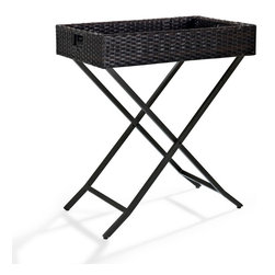 Crosley Furniture - Crosley Furniture Palm Harbor Outdoor Wicker 28x32 Butler Tray - Expand your entertainment options with Crosley's Wicker Butler Tray.  Constructed of durable steel, this useful server can double as a side table or small bar. Covered in all-weather durable resin wicker, the Butler Tray is designed to last party after party, year after year.