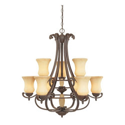 Designers Fountain - Designers Fountain Salermo Transitional Chandelier X-OA-98018 - Center column glass accents and shapely scavo shades are supported by graceful curves and twisted roped ironwork, all hallmarks of the rustic Salerno collection.