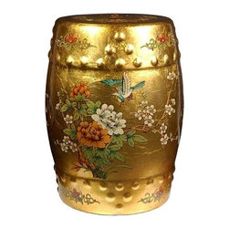Oriental Unlimted - Hand Finished Classic Garden Stool in Gold La - A classic garden stool. Handcrafted by artisans in the Guangdong province of mainland China. Inspired by Chinese craftsmanship of the 18th century. Hand-painted birds and flower motif. May be placed indoors or out. Glazed porcelain with raised dots and a pierced design. Can be used as a seat, plant stand or side table. Hand finished in a rich and clear lacquer. 11.5 in. Dia. x 18 in. H