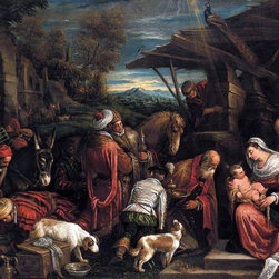 """Francesco Bassano Adoration of the Magi - 16"""" x 20"""" Premium Archival Print - 16"""" x 20"""" Francesco Bassano Adoration of the Magi premium archival print reproduced to meet museum quality standards. Our museum quality archival prints are produced using high-precision print technology for a more accurate reproduction printed on high quality, heavyweight matte presentation paper with fade-resistant, archival inks. Our progressive business model allows us to offer works of art to you at the best wholesale pricing, significantly less than art gallery prices, affordable to all. This line of artwork is produced with extra white border space (if you choose to have it framed, for your framer to work with to frame properly or utilize a larger mat and/or frame).  We present a comprehensive collection of exceptional art reproductions byFrancesco Bassano."""