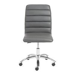 Eurostyle - Jaleh Office Chair No Arms - Gray/Chrome - Leatherette over foam seat and back