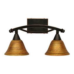 "Toltec - Toltec 172-Bc-454 Bow Bath Bar Shown in Black Copper Finish - Toltec 172-BC-454 Bow Bath Bar Shown in Black Copper Finish with 7"" Fire Saturn Glass"