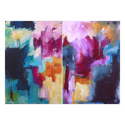 """Our Little Truth Diptych, Original, Painting - """"Abstract expressionist acrylic painting on 2 separate canvas 24w x 36h, combined make a diptych 48w x 36h featuring blues and magenta with expressionist marks."""""""