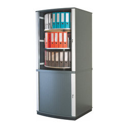 Empire Office Solutions - Moll Lockfile Carousel Cabinet - Five Tier in Graphite Wood with Laminate - Lockable quiet-action tambour doors retract within the cabinet walls to save floor space. Inside, circular shelf tiers rotate independently around a sturdy steel base and provide all-around access to binders, files, books, media and more. Compared to traditional locking cabinets, lock file carousel cabinets secure the same amount of materials in a fraction of the space.