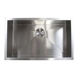 "Ariel - 30 Inch Stainless Steel Undermount Single Bowl Kitchen Sink Zero Radius Design - Featuring zero radius corners, the Ariel single well sink is perfect for the professional kitchen look. Exterior Dimensions 30"" x 18"" x 10"". Interior Dimensions 28"" x 16"" x 10""."