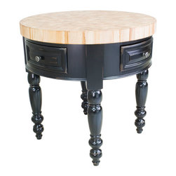 """Inviting Home - Round Kitchen Island (distressed black) - Round kitchen island in distressed black finish; 36"""" Diameter x 36""""H; Saratoga round kitchen island in distressed black finish. Round kitchen island features soft-close under-mount slides on drawers. 3"""" Thick end grain maple butcher block top included. Legs knockdown."""